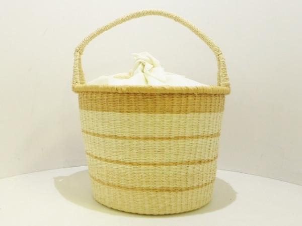 センシスタジオ ハンドバッグ美品  アイボリー×ベージュ かごバッグ 天然繊維