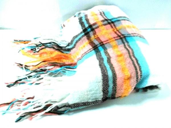 sunao kuwahara(スナオクワハラ) マフラー美品  白×マルチ チェック柄 ウール