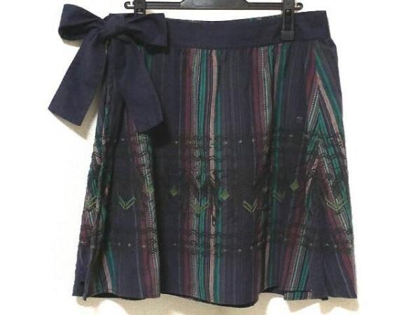 ディーゼル 巻きスカート サイズ26 S レディース ダークネイビー×グリーン×マルチ