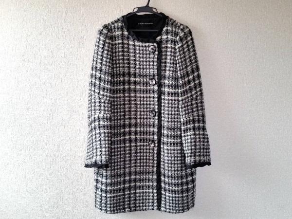 HIROKO KOSHINO(ヒロココシノ) コート レディース美品  白×黒×グレー 冬物
