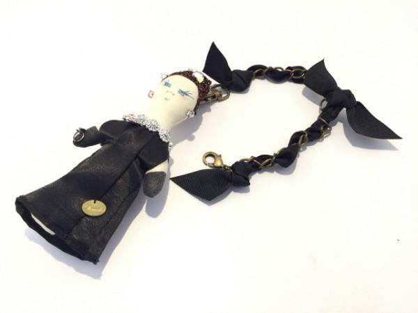 デモデ キーホルダー(チャーム) 黒×アイボリー×マルチ ビジュー 化学繊維×コットン