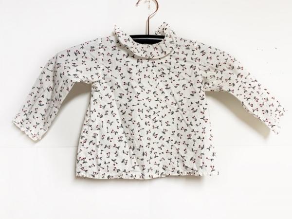 ボンポワン 七分袖シャツブラウス サイズ2 M レディース 白×黒×レッド チェリー柄