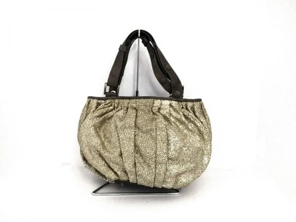ARISTOLASIA(アリストラジア) ハンドバッグ美品  アイボリー×シルバー×ダークグレー