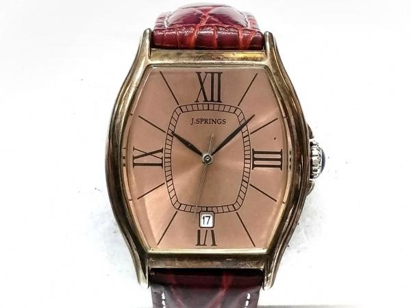 J.SPRINGS(ジェイスプリングス) 腕時計 BBH056 レディース 型押し加工 ブラウン