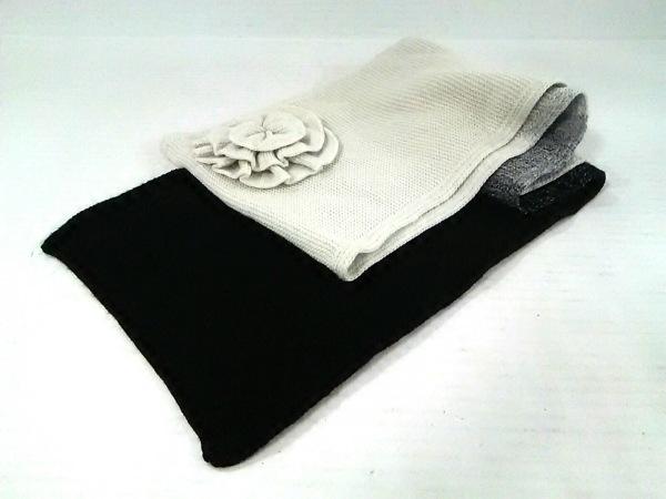 ソニアリキエル マフラー美品  黒×グレー×ライトグレー フラワー ウール
