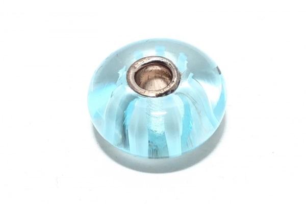 トロールビーズ ペンダントトップ美品  ガラス×シルバー ライトブルー ストライプ