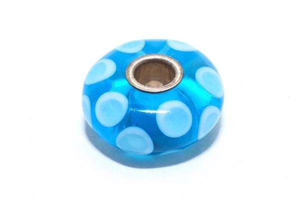 トロールビーズ ペンダントトップ美品  ガラス×シルバー ブルー×ライトブルー