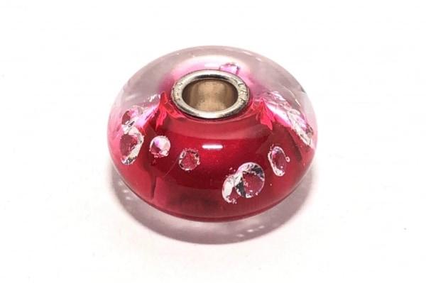 トロールビーズ ペンダントトップ美品  ガラス×シルバー ピンク ラインストーン