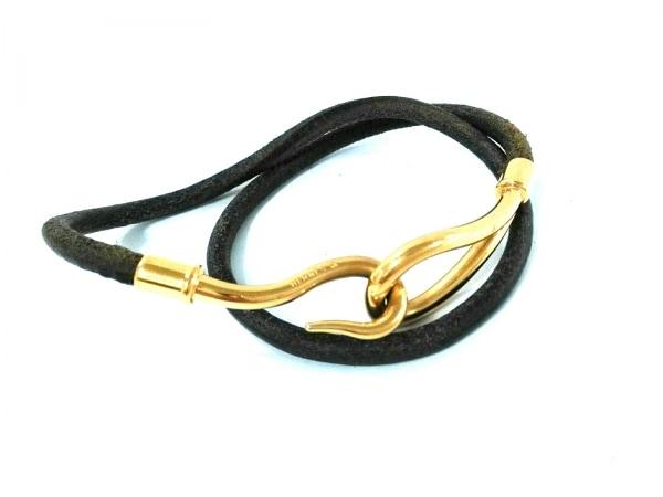 エルメス ブレスレット ジャンボ レザー×金属素材 ダークブラウン 2連/ゴールド金具