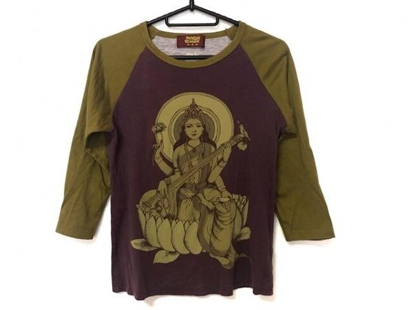 mash mania(マッシュマニア) 七分袖Tシャツ レディース パープル×カーキ