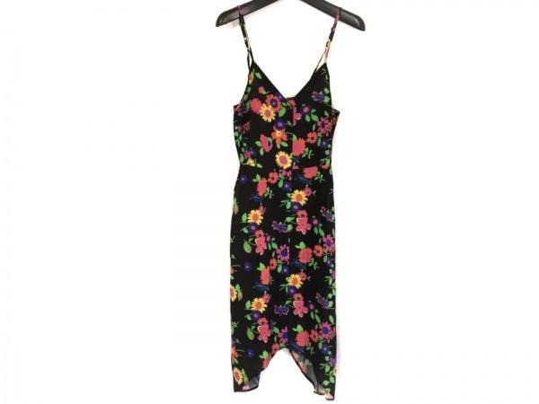 ASOS(エイソス) ワンピース サイズ4 XL レディース美品  黒×ピンク×マルチ 花柄