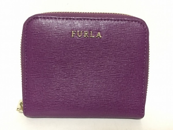 FURLA(フルラ) 2つ折り財布 パープル ラウンドファスナー レザー