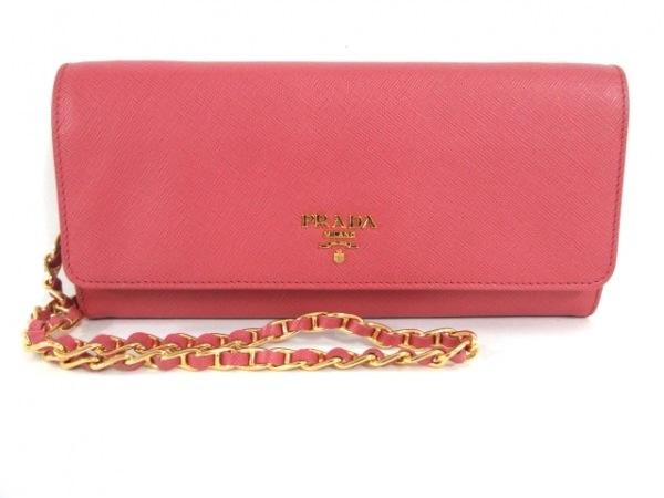 PRADA(プラダ) 財布新品同様  - 1M1290 ピンク チェーンウォレット レザー