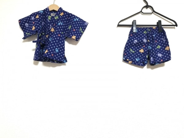 ミキハウス メンズセットアップ サイズ80 メンズ ネイビー×マルチ 甚平/子供服