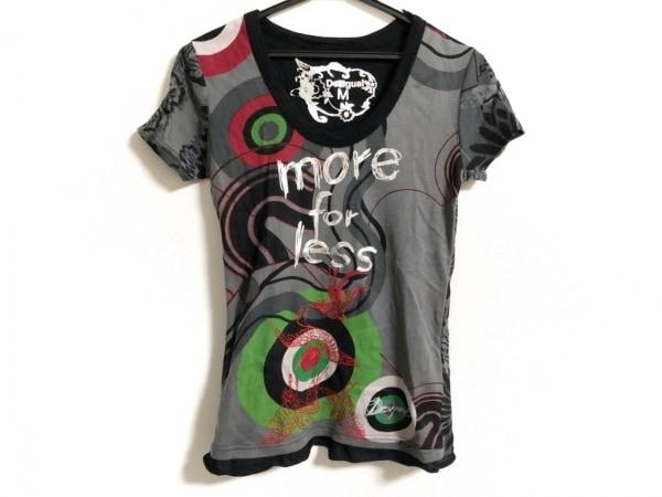 デシグアル 半袖Tシャツ サイズM レディース美品  黒×ダークグレー×マルチ 刺繍