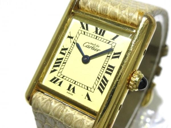 カルティエ 腕時計 マストタンクヴェルメイユ - レディース 925/革ベルト アイボリー