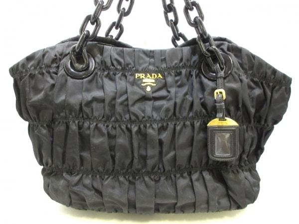0ec752487225 PRADA(プラダ) トートバッグ ギャザーバッグ 黒 革タグ/プラスチックチェーン