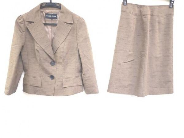 ヨーコドール スカートスーツ サイズ36 S レディース美品  ライトブラウン×ネイビー