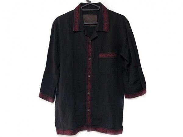 BACK BONE(バックボーン) 七分袖シャツ サイズM メンズ美品  黒×レッド 刺繍