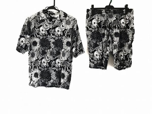 SHELLAC(シェラック) メンズセットアップ サイズ46 XL メンズ 黒×白 花柄/楊柳