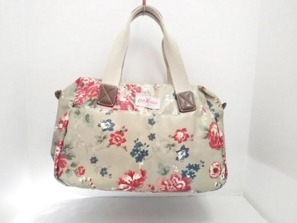 キャスキッドソン ハンドバッグ グレー×マルチ 花柄 コーティングキャンバス