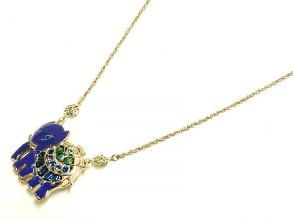 アナスイ ネックレス美品  金属素材×ラインストーン パープル×ゴールド×マルチ