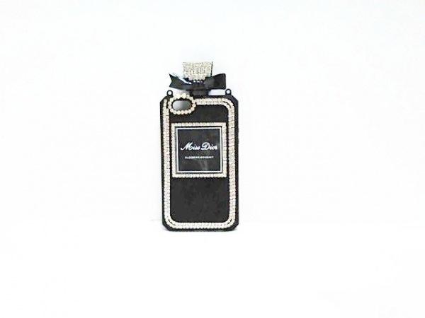 MissDior(ミスディオール) 携帯電話ケース 黒×クリア リボン ラバー×ラインストーン