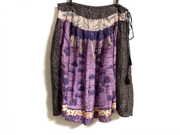 ツモリチサト スカート サイズ2 M レディース パープル×ネイビー×マルチ