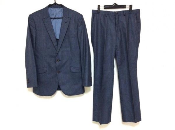 テットオム シングルスーツ メンズ美品  ネイビー×ダークネイビー ストライプ