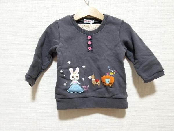 miki HOUSE(ミキハウス) トレーナー サイズ80 レディース美品  ダークグレー 刺繍