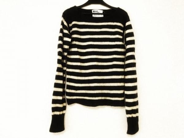 MHL.(マーガレットハウエル) 長袖セーター レディース美品  黒×アイボリー ボーダー