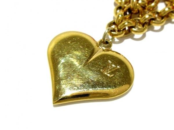 ルイヴィトン ネックレス 金属素材×化学繊維 ゴールド×ピンク ハート