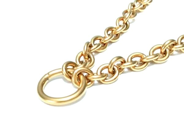 PRADA(プラダ) ネックレス美品  金属素材×化学繊維 ゴールド×ダークブラウン