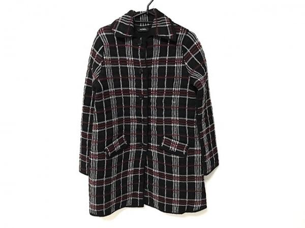マックス&コー コート サイズ S S レディース美品  黒×白×レッド チェック柄/冬物