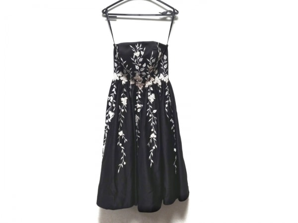 Bicici(ビッチ) ドレス サイズXS レディース 黒×白 花柄/刺繍