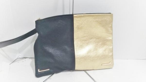 HASHIBAMI(ハシバミ) クラッチバッグ美品  黒×ゴールド レザー