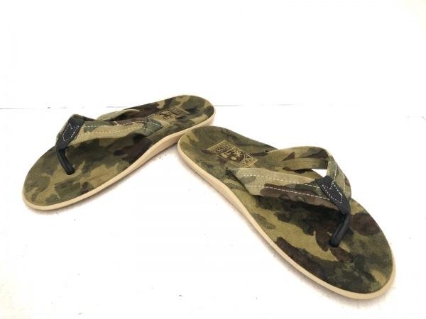 アイランドスリッパ ビーチサンダル 8 メンズ グリーン×黒×マルチ 迷彩柄