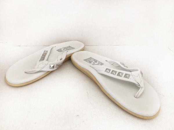 ISLAND SLIPPER(アイランドスリッパ) ビーチサンダル 9 メンズ 白×シルバー スタッズ