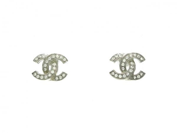 シャネル ピアス美品  金属素材×ラインストーン シルバー×クリア ココマーク