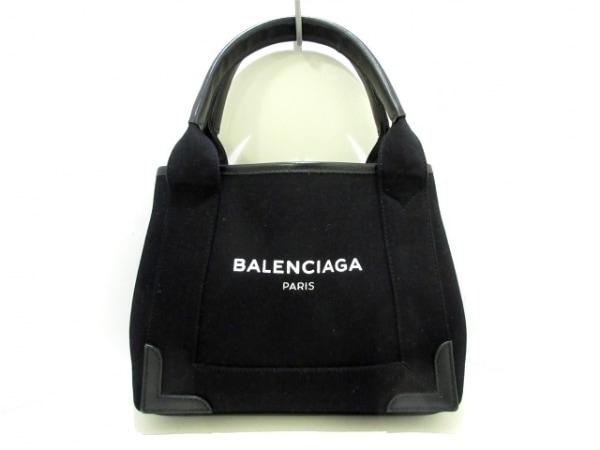 バレンシアガ トートバッグ ネイビーカバXS 390346 黒 キャンバス×レザー