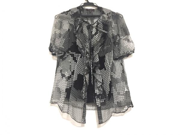 フィロディセタ 半袖シャツブラウス サイズ38 M レディース 黒×白 シルク/シースルー