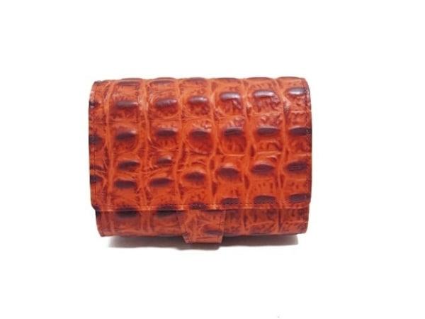 ISOLA(アイソラ) 2つ折り財布 レッド 型押し加工 レザー