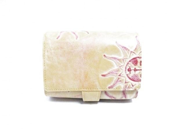 ISOLA(アイソラ) 2つ折り財布 ライトブラウン×レッド 型押し加工 レザー