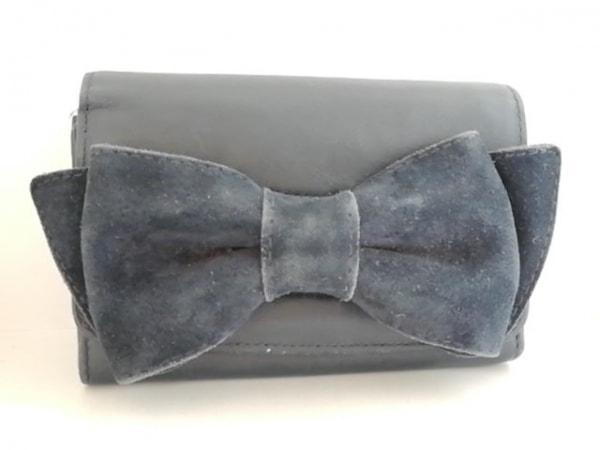 KITAMURA(キタムラ) 2つ折り財布 ダークグレー リボン レザー×スエード