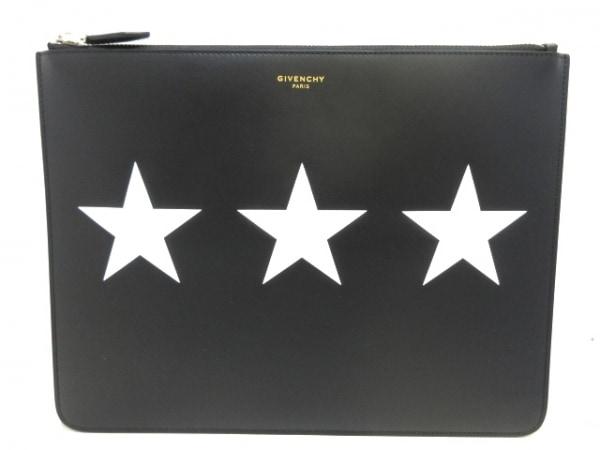 GIVENCHY(ジバンシー) クラッチバッグ美品  - 黒×白 スター レザー