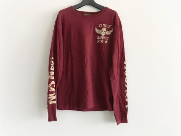 VANSON(バンソン) 長袖Tシャツ サイズS メンズ ボルドー×アイボリー 刺繍
