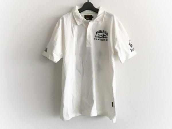 VANSON(バンソン) 半袖ポロシャツ サイズL メンズ美品  白×黒 刺繍