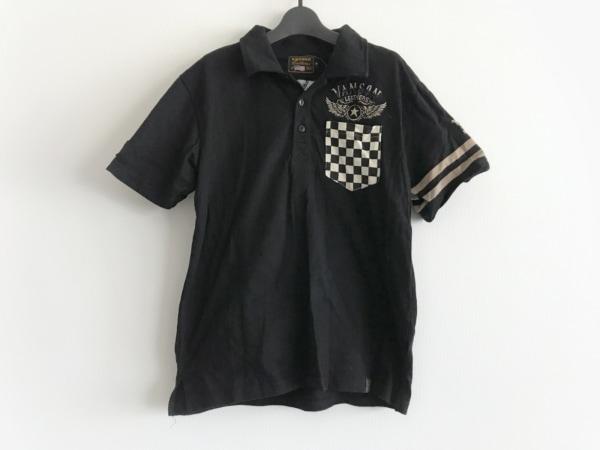 VANSON(バンソン) 半袖ポロシャツ サイズM メンズ美品  黒×ベージュ×白 刺繍