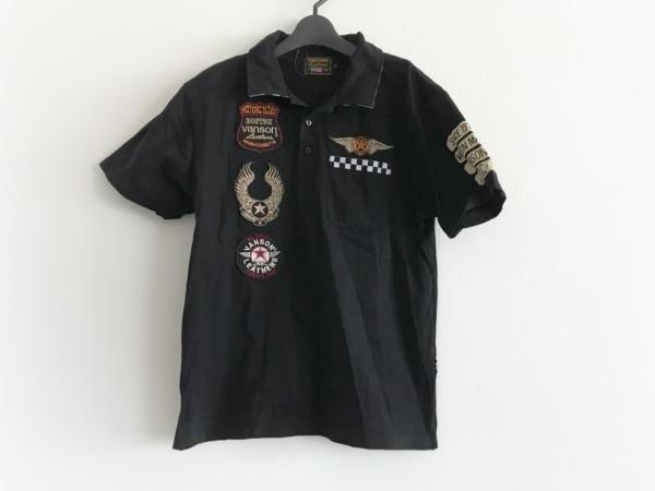 バンソン 半袖ポロシャツ サイズM メンズ 黒×ベージュ×マルチ チェック柄/刺繍