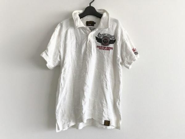 VANSON(バンソン) 半袖ポロシャツ サイズM メンズ 白×黒×マルチ 刺繍